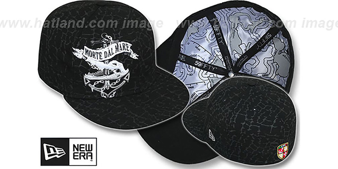 New Era 'DEATH FROM BELOW' Black Fitted Hat : pictured without stickers that these products are shipped with
