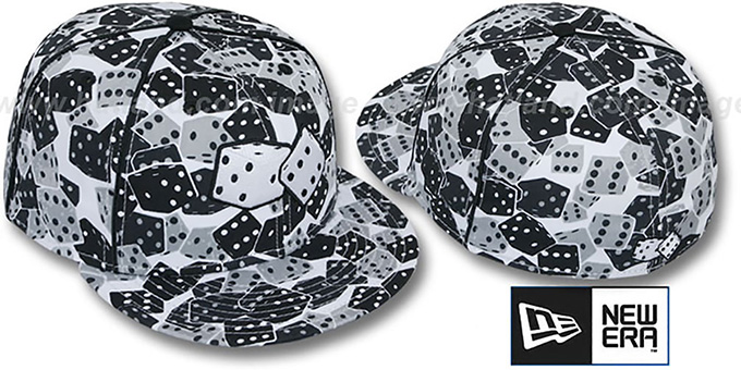 New Era 'DICE' Fitted Hat white-black-grey : pictured without stickers that these products are shipped with