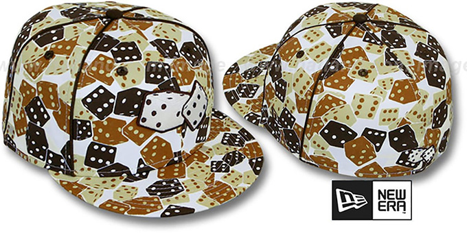 New Era 'DICE' Fitted Hat white-brown-wheat : pictured without stickers that these products are shipped with