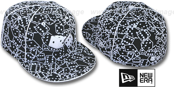 New Era 'FLOCKED DICE' Black-White Fitted Hat : pictured without stickers that these products are shipped with