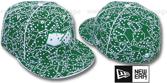 New Era 'FLOCKED DICE' Kelly-White Fitted Hat : pictured without stickers that these products are shipped with