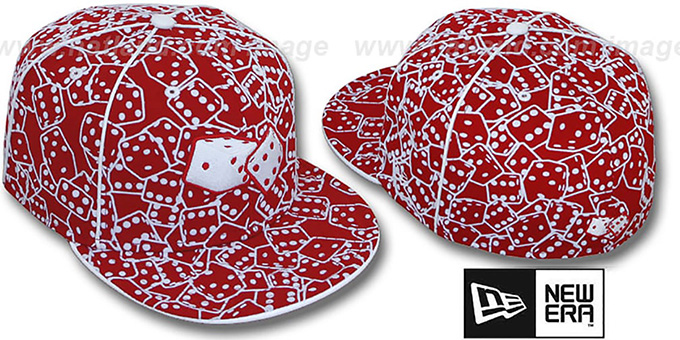 New Era 'FLOCKED DICE' Red-White Fitted Hat : pictured without stickers that these products are shipped with