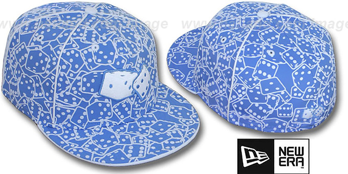 New Era 'FLOCKED DICE' Sky-White Fitted Hat : pictured without stickers that these products are shipped with
