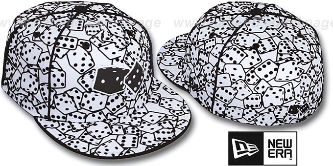 New Era 'FLOCKED DICE' White-Black Fitted Hat