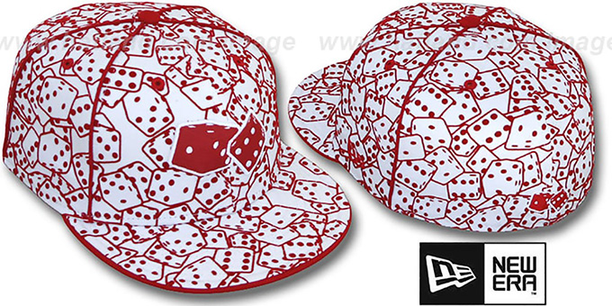 New Era 'FLOCKED DICE' White-Red Fitted Hat : pictured without stickers that these products are shipped with