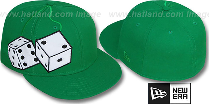 New Era 'FUZZY DICE' Green-White Fitted Hat : pictured without stickers that these products are shipped with