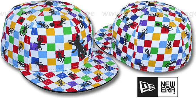 New Era 'GRASSHOPPER CHECKERS' White-Multi Fitted Hat : pictured without stickers that these products are shipped with