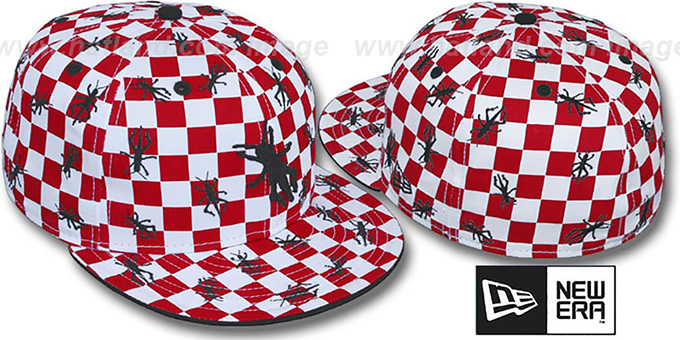 New Era 'GRASSHOPPER CHECKERS' White-Red Fitted Hat : pictured without stickers that these products are shipped with