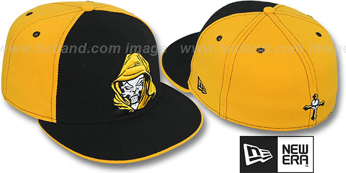New Era  HOODED SKULL  Black-Gold Fitted Hat 08cb53c01bb