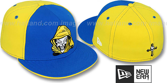New Era 'HOODED SKULL' Royal-Yellow Fitted Hat : pictured without stickers that these products are shipped with