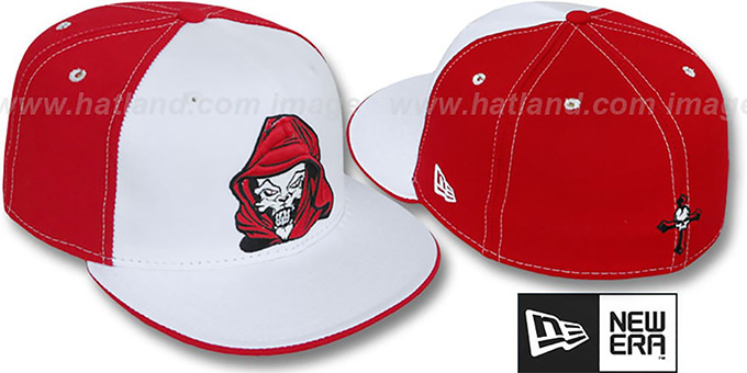 New Era 'HOODED SKULL' White-Red Fitted Hat : pictured without stickers that these products are shipped with