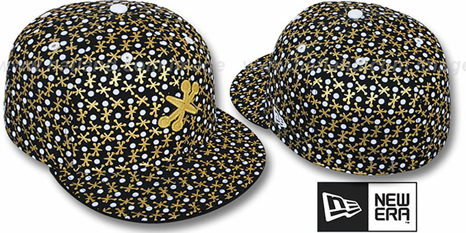 New Era 'JACKS' Black Fitted Hat : pictured without stickers that these products are shipped with