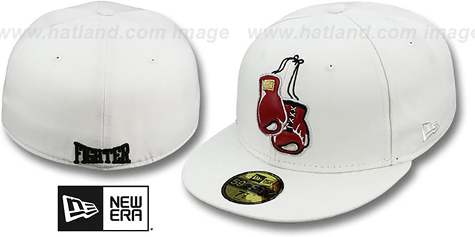 New Era 'KNOCK-OUT' White Fitted Hat : pictured without stickers that these products are shipped with
