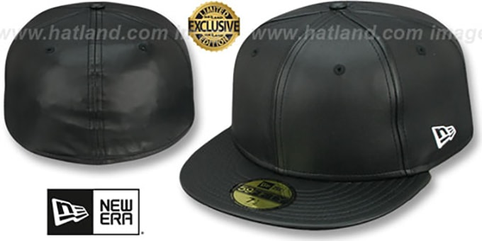 New Era 'LEATHER BLANK' Black Fitted Hat