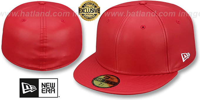 New Era  LEATHER BLANK  Red Fitted Hat 02dd81aec5b