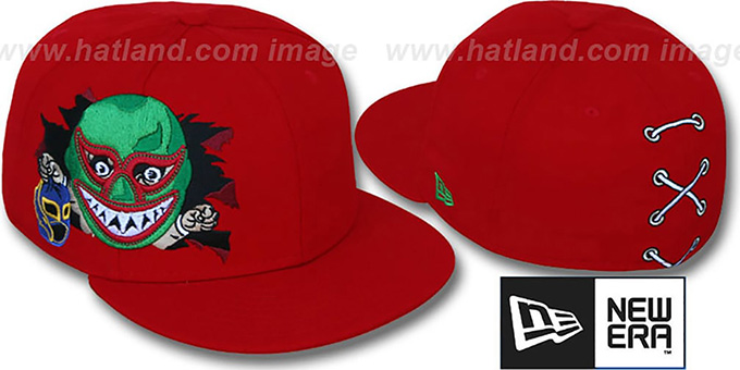 New Era 'LUCHADOR MASX' Red Fitted Hat : pictured without stickers that these products are shipped with