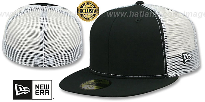 New Era 'MESH-BACK 59FIFTY-BLANK' Black-White Fitted Hat