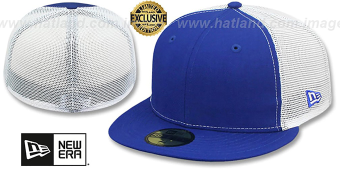 New Era 'MESH-BACK 59FIFTY-BLANK' Royal-White Fitted Hat