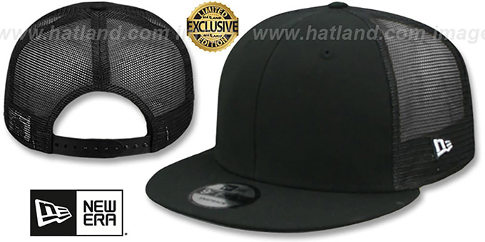 New Era  MESH-BACK BLANK SNAPBACK  Black-Black Adjustable Hat b29c548dc34