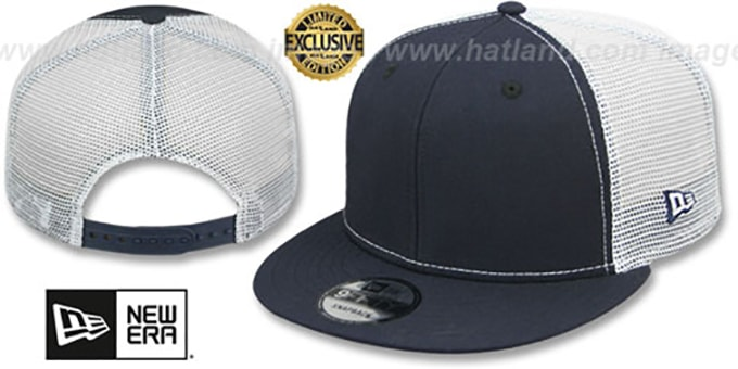 New Era 'MESH-BACK BLANK SNAPBACK' Navy-White Adjustable Hat