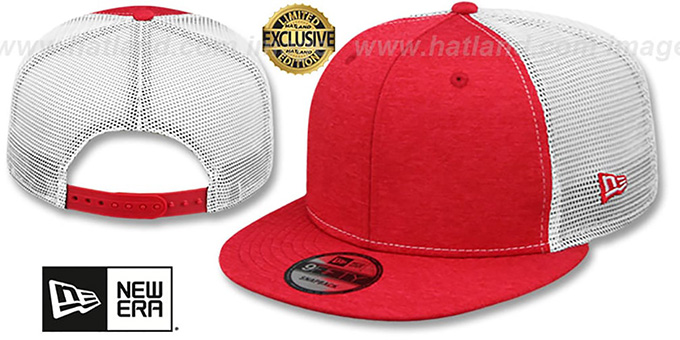 New Era 'MESH-BACK BLANK SNAPBACK' Red Shadow Tech-White Adjustable Hat