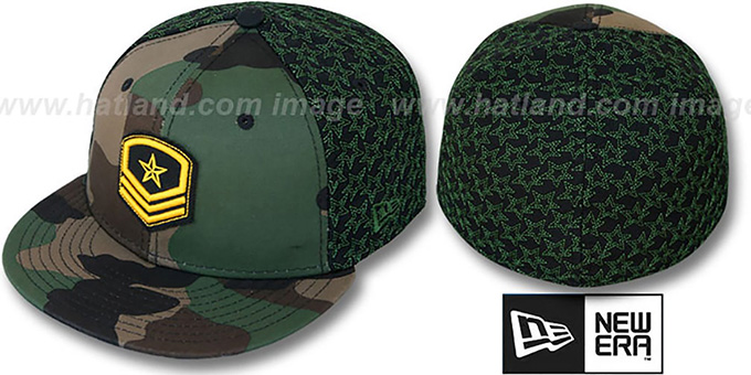 New Era 'MILITARY STAR' Camo-Black-Green Fitted Hat by New Era : pictured without stickers that these products are shipped with