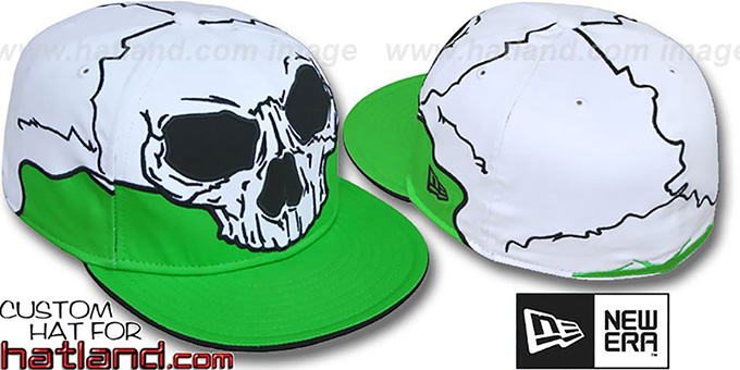 New Era 'MR SOCKETS' Lime-White Fitted Hat : pictured without stickers that these products are shipped with