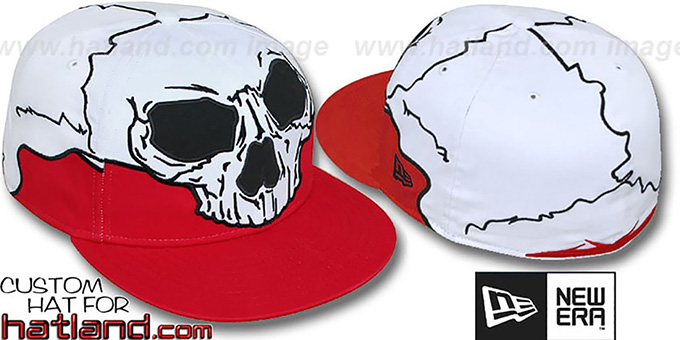 New Era 'MR SOCKETS' Red-White Fitted Hat : pictured without stickers that these products are shipped with