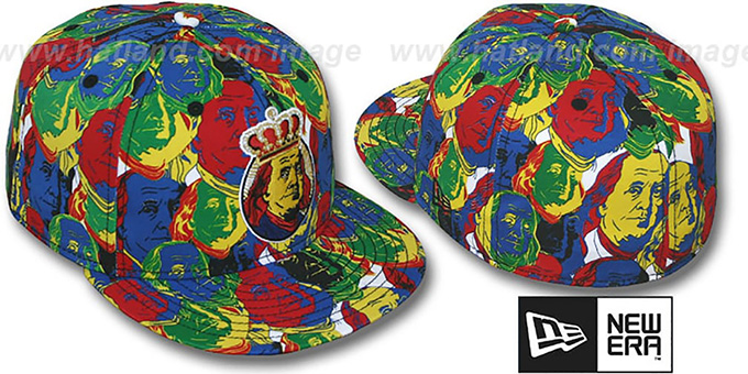 New Era MULTI 'POP-ART' Fitted Hat : pictured without stickers that these products are shipped with