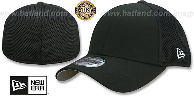 New Era 'NEO-MESH 39THIRTY-BLANK' Black-Black Flex Fitted Hat