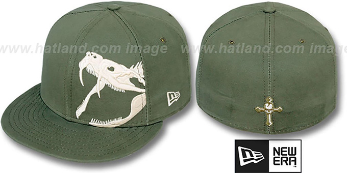 New Era 'RATTLER' Olive-Bone Fitted Hat : pictured without stickers that these products are shipped with