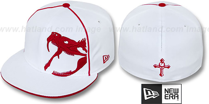 New Era 'RATTLER PIPING' White-Red Fitted Hat : pictured without stickers that these products are shipped with