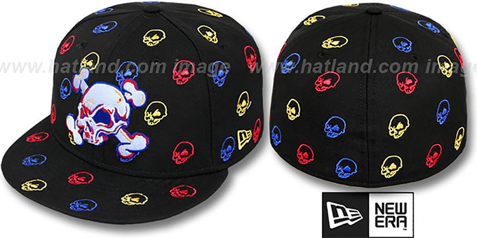 New Era 'S.K.A.R. SKULLS' Black-Multi Fitted Hat : pictured without stickers that these products are shipped with