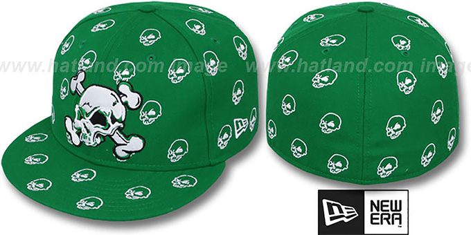 New Era 'S.K.A.R. SKULLS' Green-White Fitted Hat : pictured without stickers that these products are shipped with