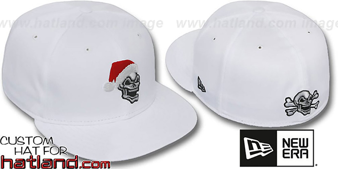 New Era 'SANTA SKULL' White Fitted Hat : pictured without stickers that these products are shipped with