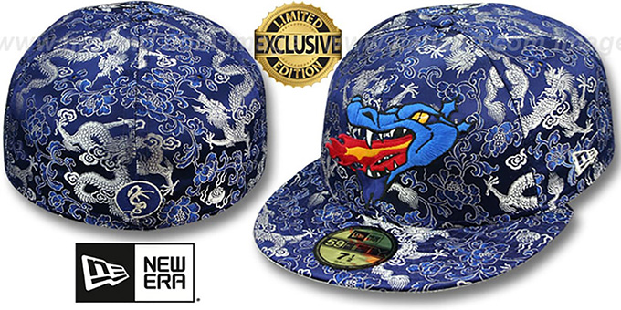 New Era 'SATIN DRAGON' Navy Blue Fitted Hat : pictured without stickers that these products are shipped with