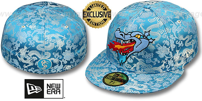 New Era 'SATIN DRAGON' Sky Blue Fitted Hat : pictured without stickers that these products are shipped with