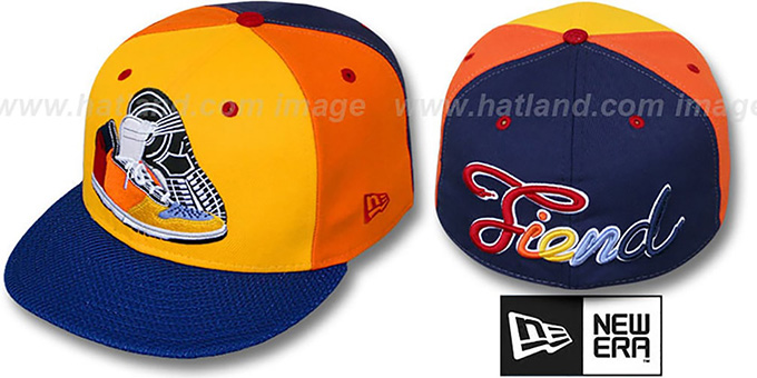 New Era 'SNEAKER FIEND' Gold-Orange-Navy Fitted Hat : pictured without stickers that these products are shipped with
