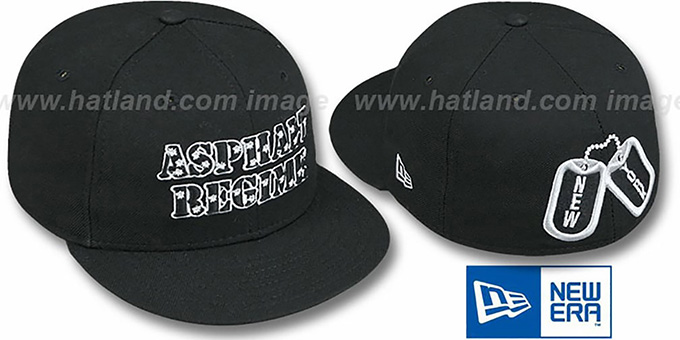 New York Dog Tags 'ASPHALT REGIME' Black Fitted Hat by New Era : pictured without stickers that these products are shipped with