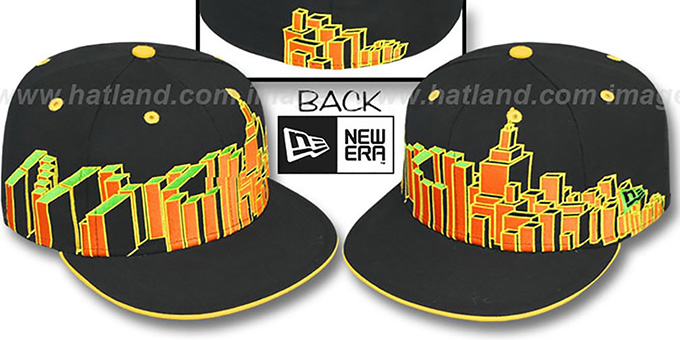 New York 'NYC BLOCK CITY-SKYLINE' Rasta Fitted Hat by New Era : pictured without stickers that these products are shipped with