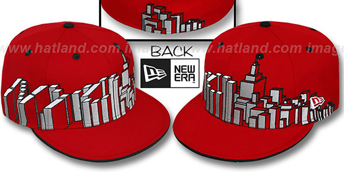 New York 'NYC BLOCK CITY-SKYLINE' Red Fitted Hat by New Era : pictured without stickers that these products are shipped with