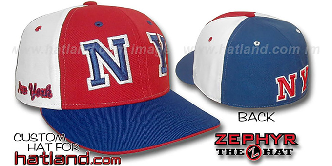 New York 'PINWHEEL' Red-White-Royal Fitted Hat : pictured without stickers that these products are shipped with