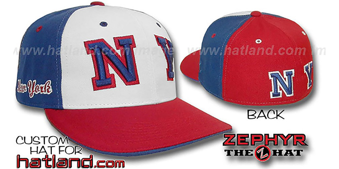 New York 'PINWHEEL' White-Royal-Red Fitted Hat : pictured without stickers that these products are shipped with