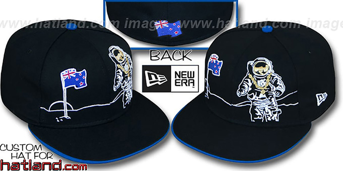 New Zealand 'MOONMAN' Black Fitted Hat by New Era : pictured without stickers that these products are shipped with