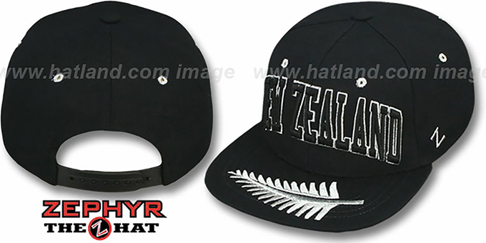 New Zealand 'SUPERSTAR SNAPBACK' Black Hat by Zephyr : pictured without stickers that these products are shipped with