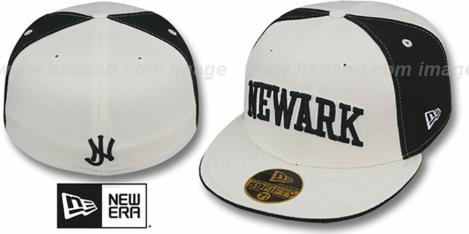 Newark 'PINWHEEL-CITY' White-Black-White Fitted Hat by New Era : pictured without stickers that these products are shipped with