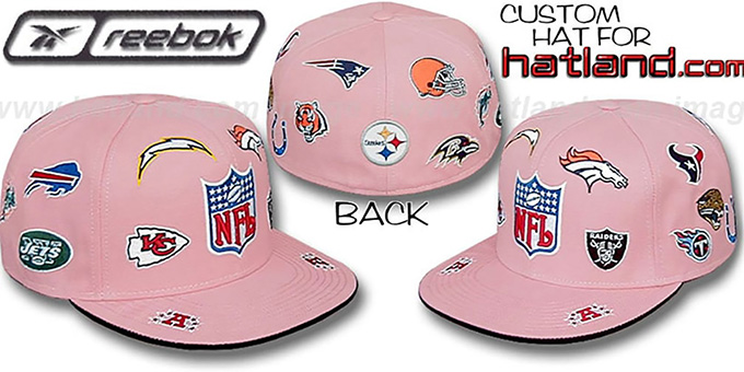 NFL 'AFC ALL-OVER' Pink Fitted Hat by Reebok : pictured without stickers that these products are shipped with