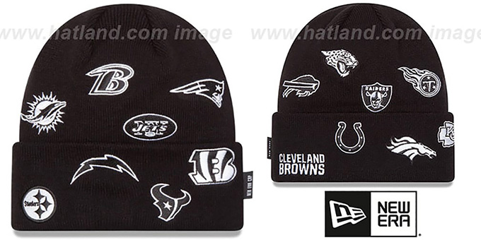 NFL 'AFC TOTAL LOGO' Black Knit Beanie Hat by New Era : pictured without stickers that these products are shipped with