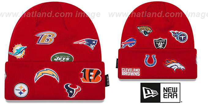NFL 'AFC TOTAL LOGO' Red Knit Beanie Hat by New Era : pictured without stickers that these products are shipped with