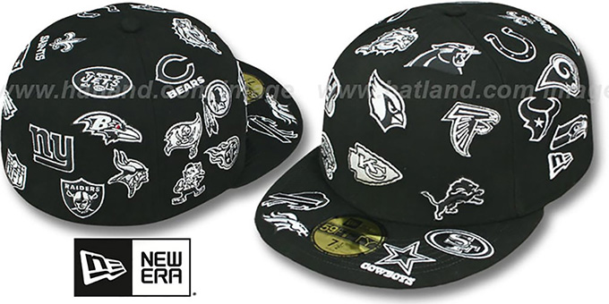 NFL 'ALL-OVER' Black-White Fitted Hat by New Era : pictured without stickers that these products are shipped with